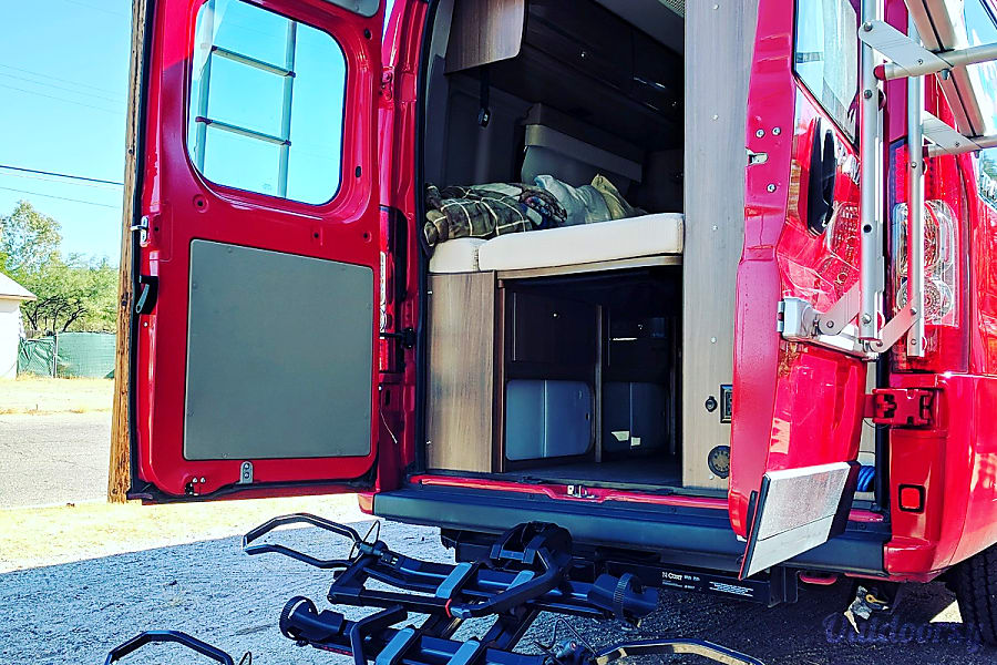 """Big Red"" 2015 Winnebago Travato - 59G in Tucson Tucson, AZ Optional add-on, the Yakima Dr. Tray and EZ +1 to allow for all your bikes to go on vacation too!"