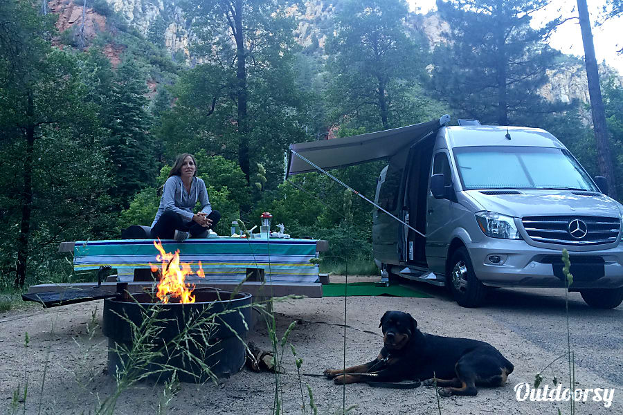 2016 Mercedes Sprinter Winnebago Era Solana Beach, CA Our Happy Place, Camping with a nice fire, Awning out, in the woods.