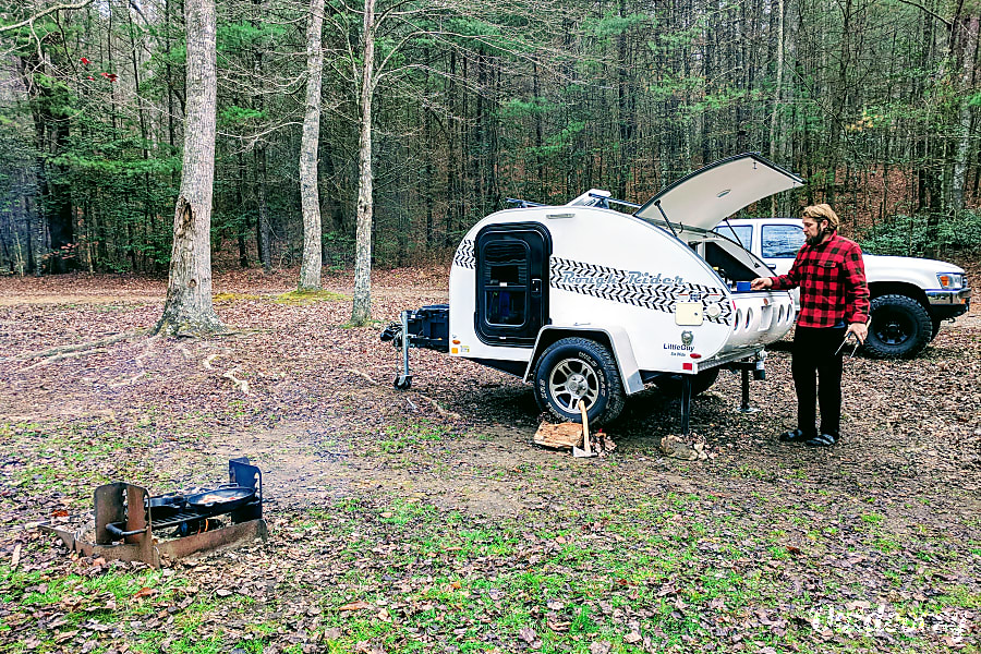 exterior Tow Anywhere, Tow with Anything light and off -road capable teardrop camper with rear kitchen galley Nashville, TN