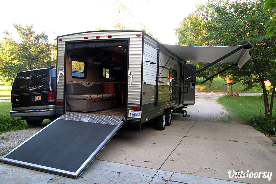 exterior 2014 Forest River Cherokee Grey Wolf toyhauler set up for back country camping Ann Arbor, MI