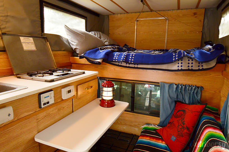 interior Rocinante: Toyota Tundra 4x4 + Four Wheel Camper Pop-up Portland, OR