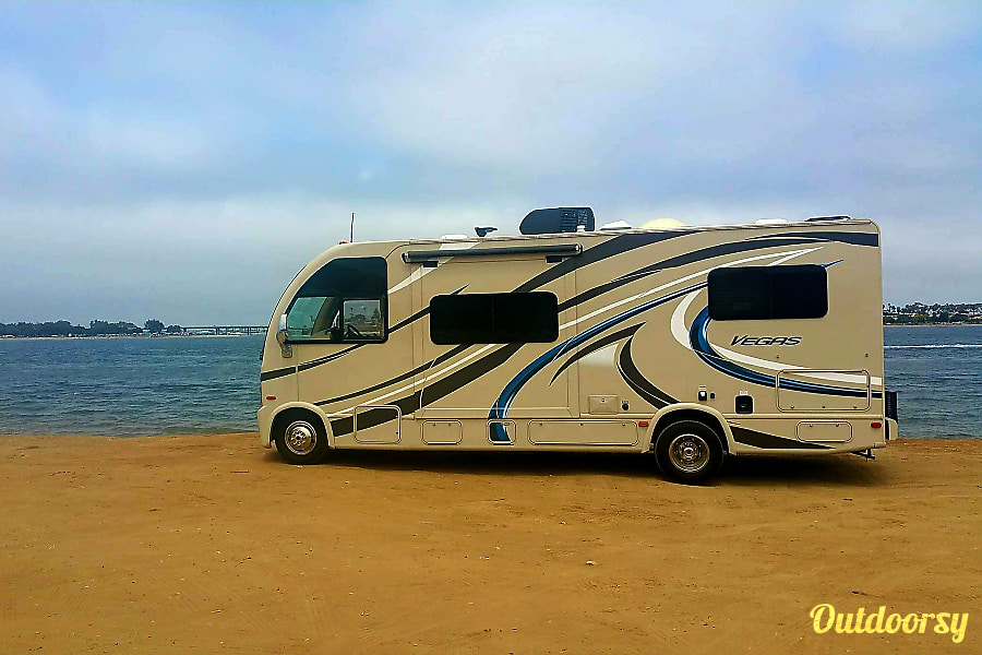 exterior Thor Vegas (25.2 ft class C with overhead bunk) San Diego, CA