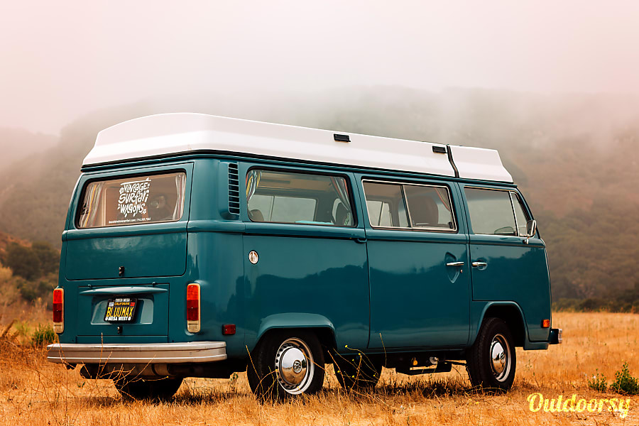 exterior 'Blu Max' VW Bay Window: Riviera Pop-Top / Westfalia Interior Costa Mesa, CA