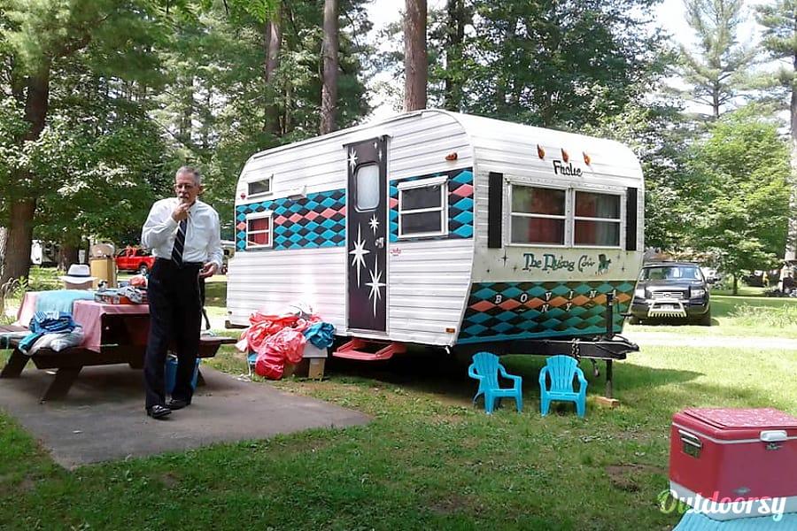"exterior 1969 Frolic - ""The Flying Cow"" Vintage Camper Caroga Lake, NY"