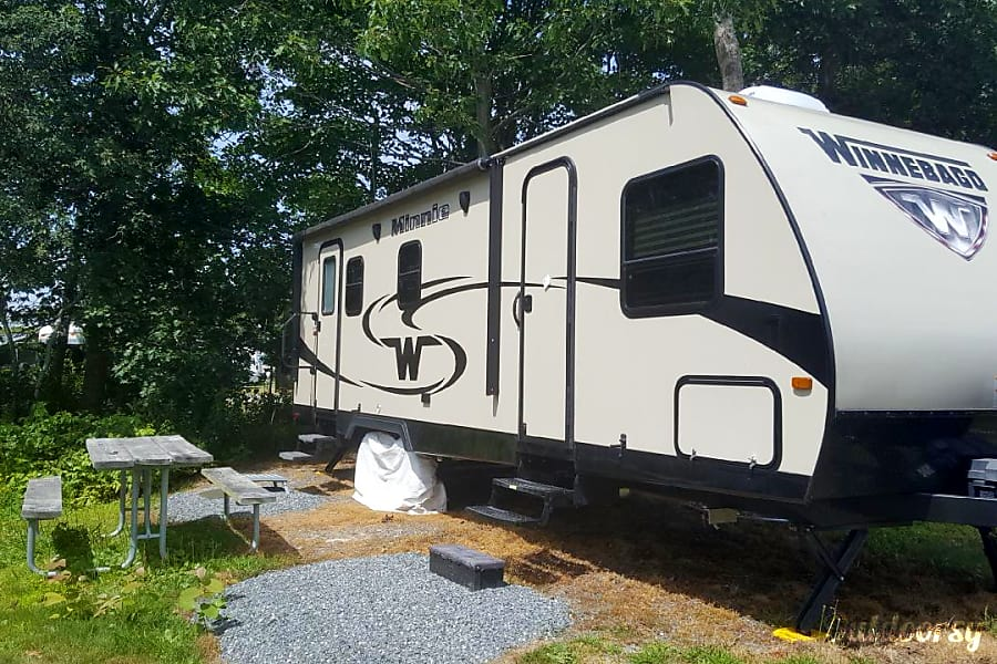 exterior Your Campfire Awaits at this Winnebago setup at the Bar Harbor Oceanside KOA Bar Harbor, ME