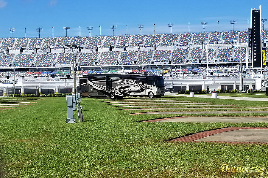 exterior Daytona Tailgating monster coach in 2017 Outlaw 38RE DELIVERY ONLY TO SPEEDWAY Port Orange, FL