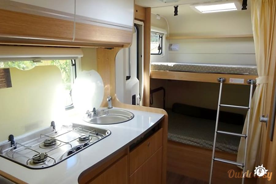 campervan rentals in London - kitchen and sleeping areas