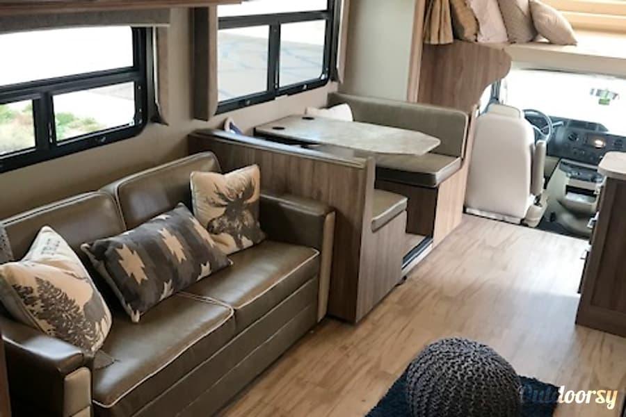 """interior 2019 Entegra Odyssey with 50"""" LED TV & outdoor kitchen! Scottsdale, AZ"""