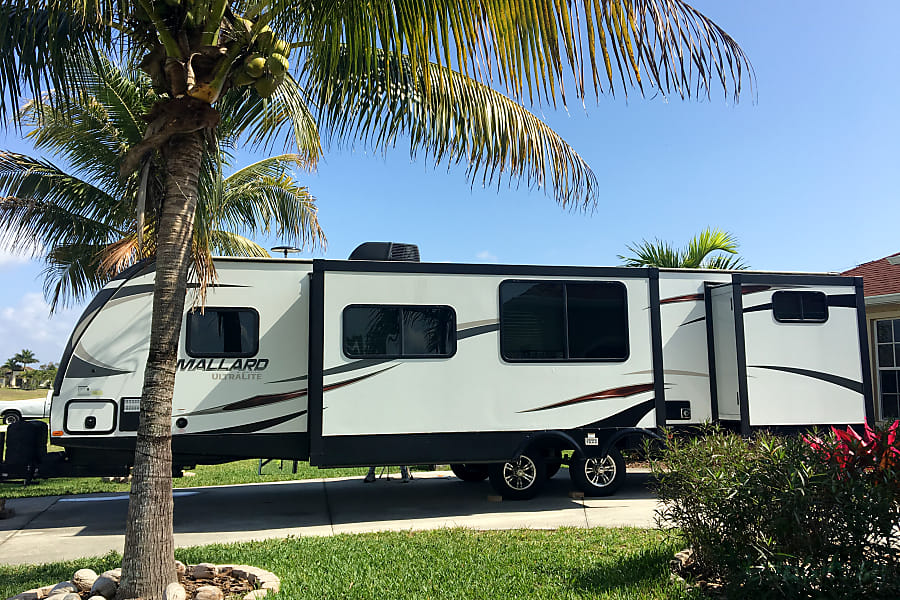 exterior 2017 Heartland M33- Upscale Stationary Rental - No insurance required. Fort Myers Beach, FL