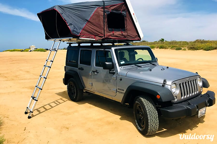exterior Jeep Wrangler Overlander #2 with Roof Top Tent and camping equipment San Diego, CA