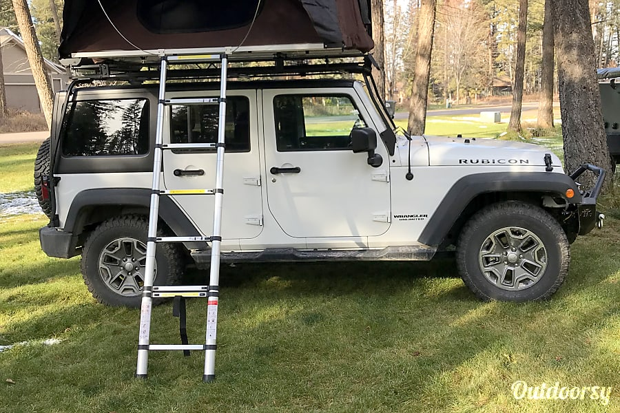 exterior Jeep Rubicon with iKamper Roof Top Tent Kalispell, MT