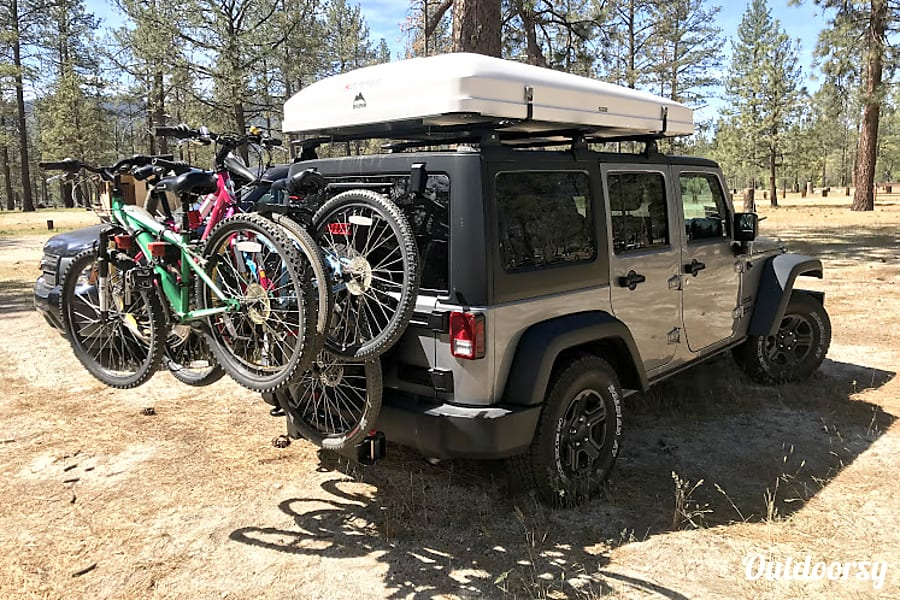exterior Jeep Wrangler Overlander #1 with Roof Top Tent and camping equipment San Diego, CA