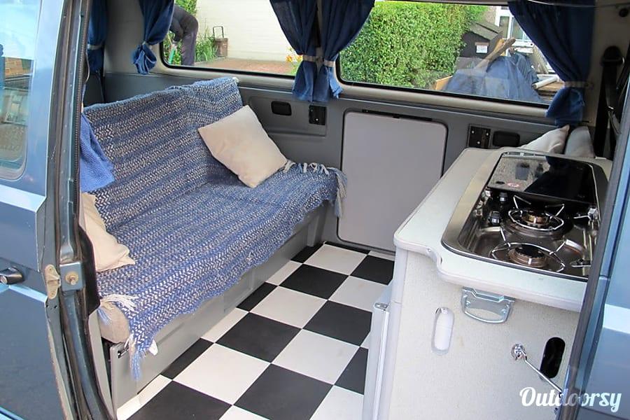 campervan rentals in London - classic checkerboard floor