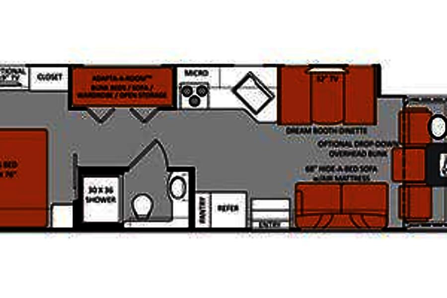 diagram of bunkhouse 2014 thor motor coach hurricane motor home class a rental in  2014 thor motor coach hurricane motor