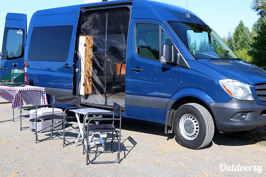 exterior BIG BLUE: 2016 Mercedes-Benz Sprinter Camper Van Portland, OR