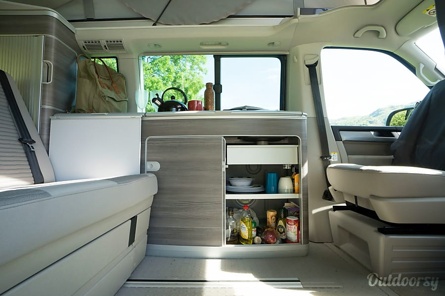 A fully stocked cupboard - campervan rentals in London