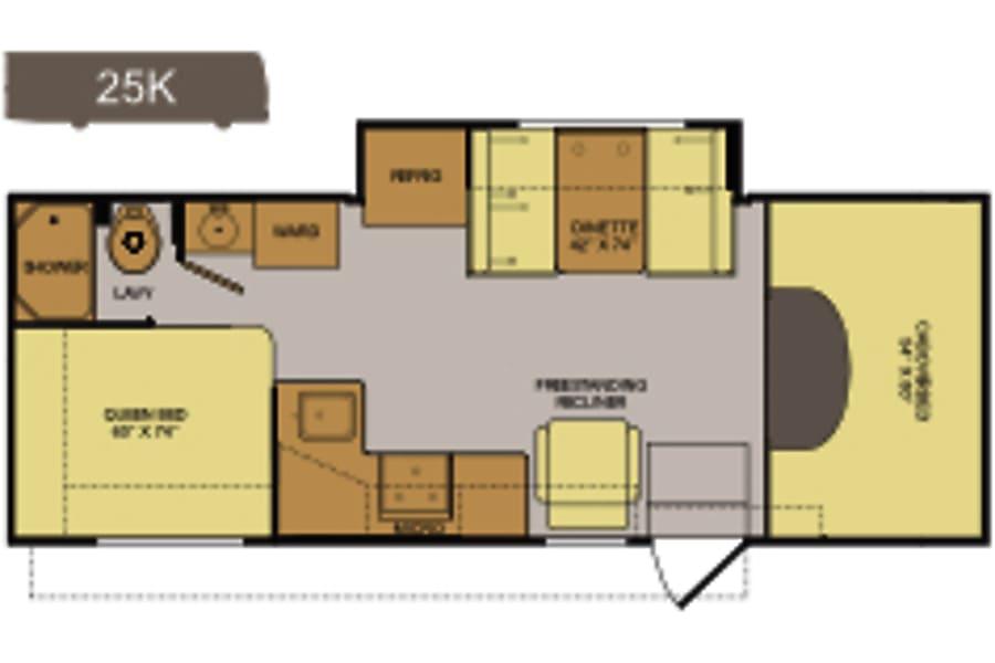 26ft Fleetwood Tioga Montara San Diego, CA Floorplan