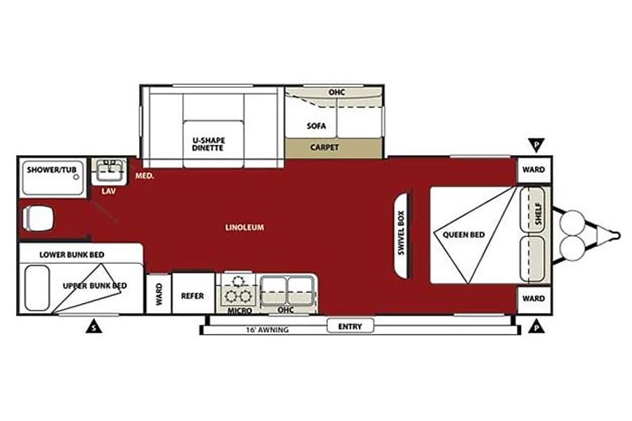 floorplan 27' Wildwood Travel Trailer w/Bunk Beds/Slide-Out (T3) San Marcos, CA