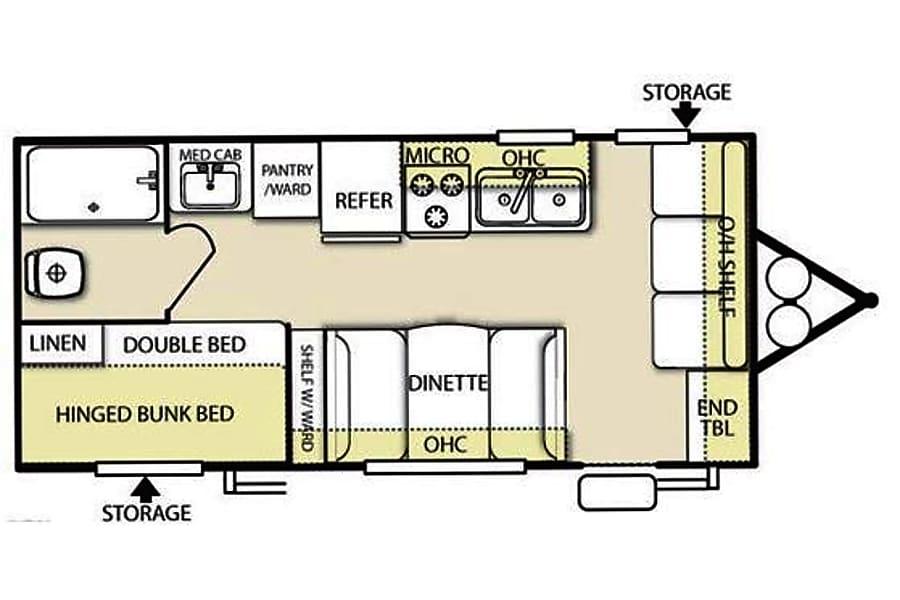 floorplan 18' Wildwood Travel Trailer With Bunk Beds (T1) San Marcos, CA