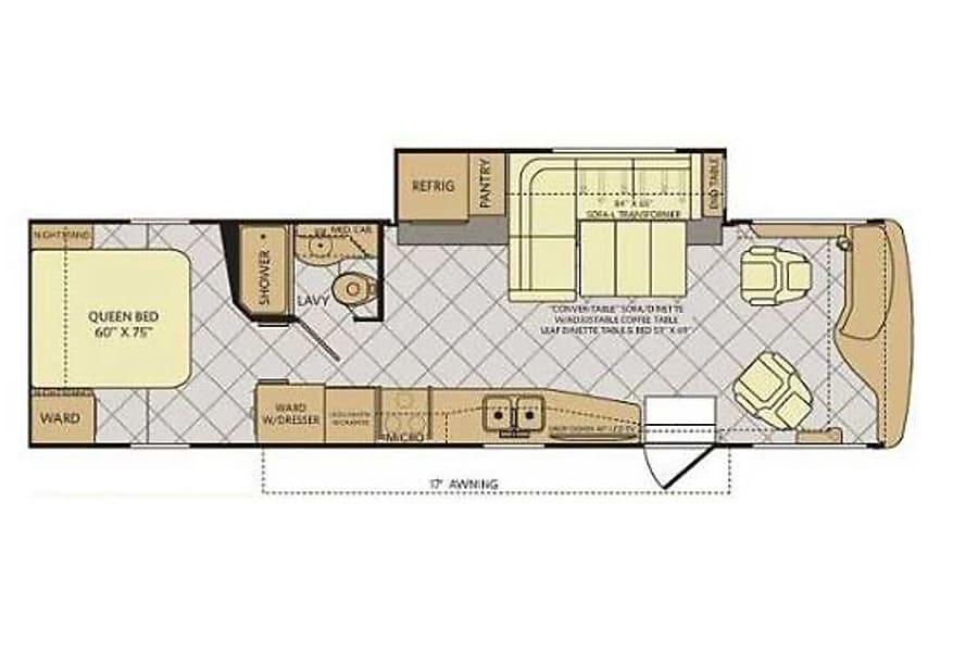 floorplan 33' Fleetwood Excursion Diesel with 1 Slide-Out (38) San Marcos, CA