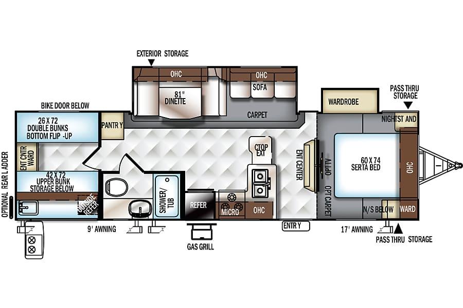 floorplan 2016 Forest River Rockwood Ultra Lite- Family & Pet Friendly Marysville, CA