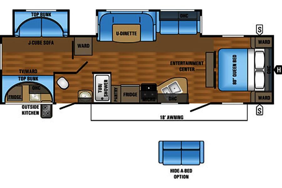 floorplan Jayco Jay Flight 32' Bunkhouse Double Slide with Outdoor Kitchen Holland, MI