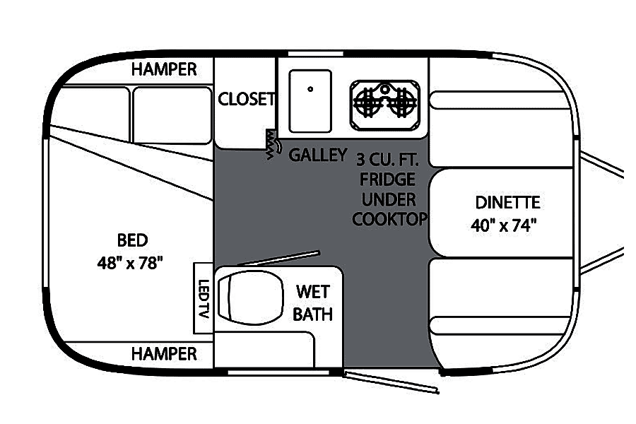 floorplan 2014 Airstream Bambi 16' Sport Denver, CO
