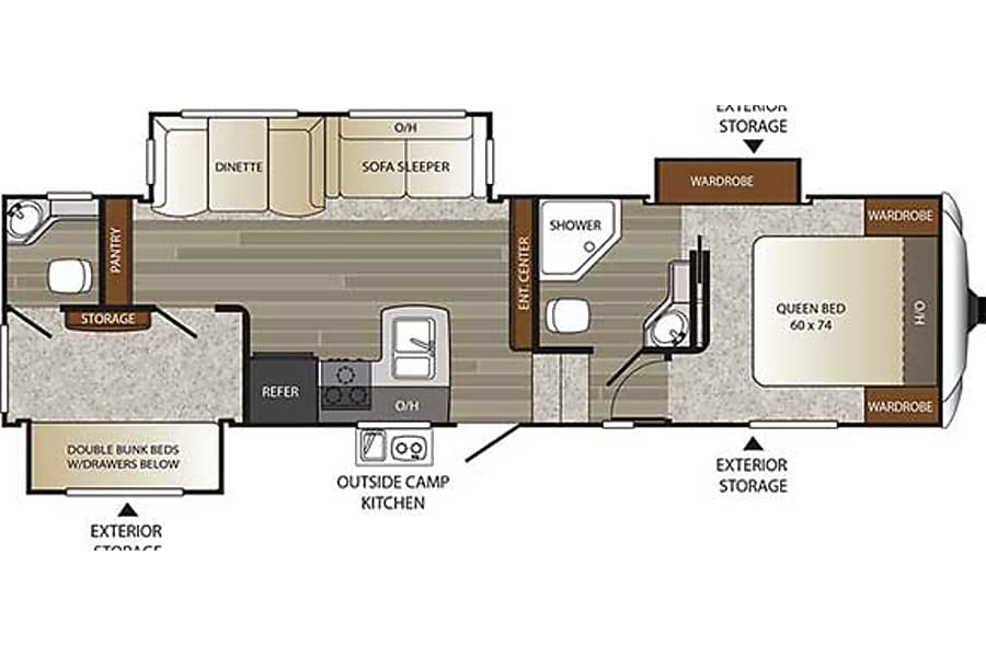 floorplan 33' Outback Fifth Wheel With Bunk Beds & 3 Slide-Outs (T20) San Marcos, CA