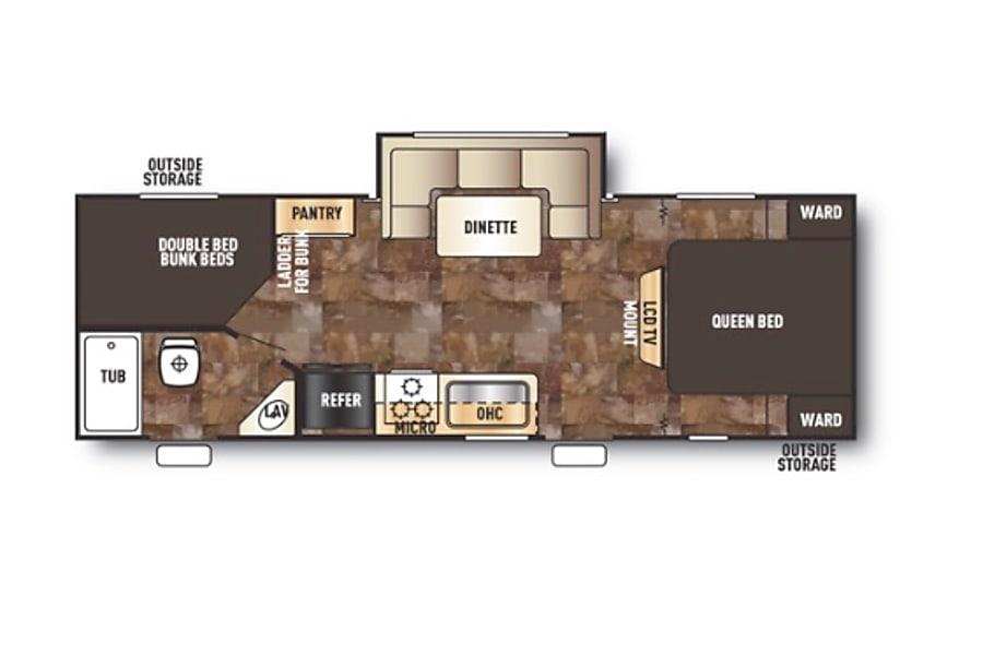floorplan 2015 Forest River Cherokee Grey Wolf 23DBH Portsmouth, VA