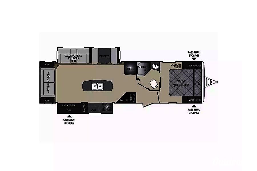 "floorplan 2017 Keystone Premier 30RIPR ""Shangri-La"" Hempstead, TX"