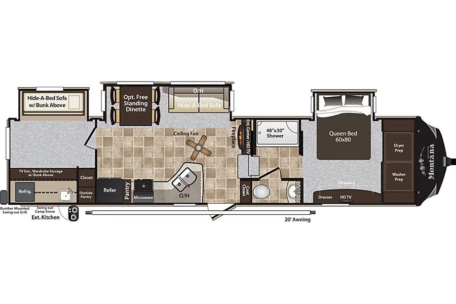 floorplan 36' Montana High Country 338DB Pismo Beach, CA