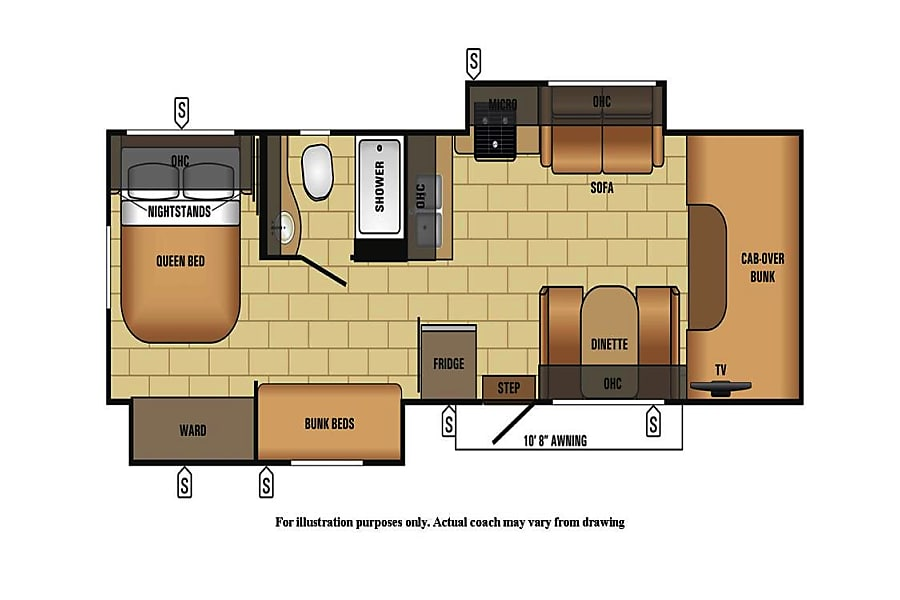 floorplan 2018 Jayco Envoy 31' Class C W/Bunks 505 RV Rentals New Mexico #ABQRV Rio Rancho, NM
