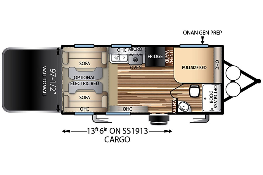 2015 Stealth, Ultimate Stay Anywhere Trailer!! NEW $105 Winter Rate's!!! Oxnard, CA Floorplan