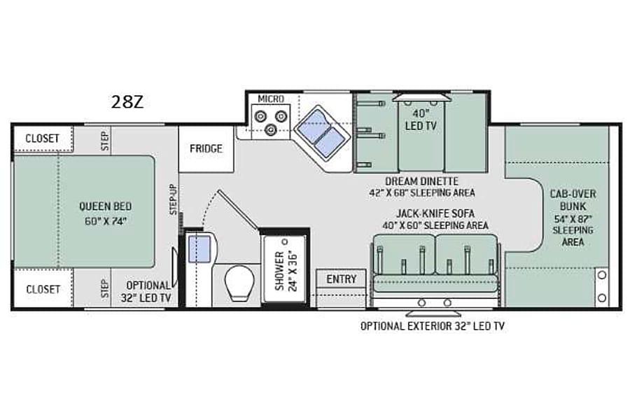floorplan Thor Chateau 28Z Huntsville, AL