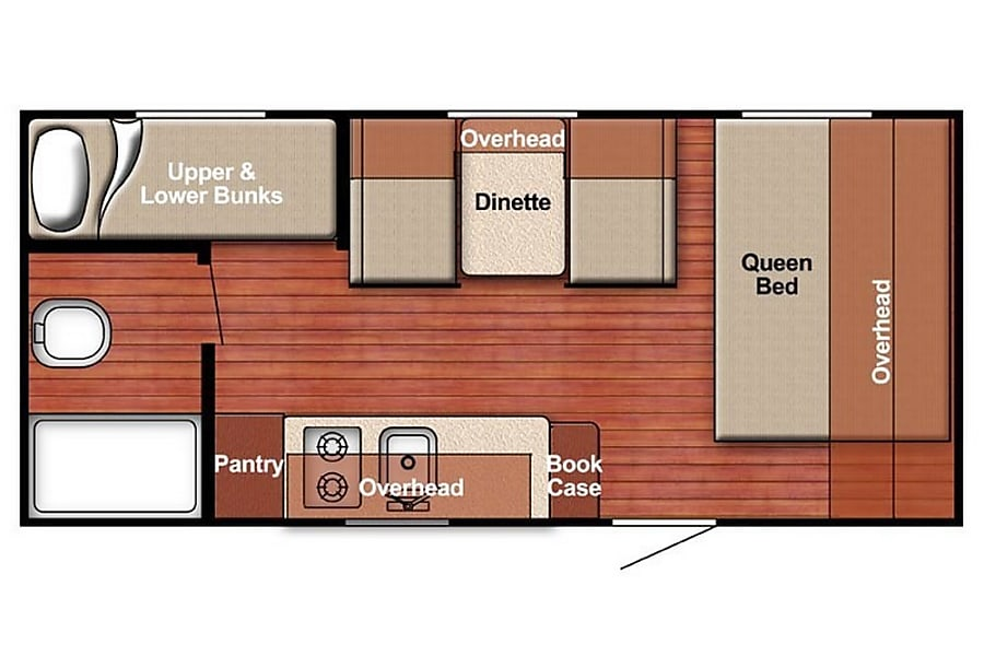 floorplan 21' Gulf Stream Ameri-Lite Bunk House, Sleep up to 6 Cement City, MI