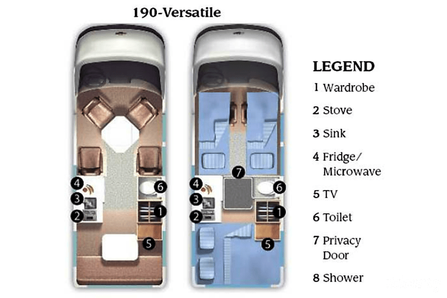 floorplan 2008 Roadtrek 190 Versatile Bakersfield, CA