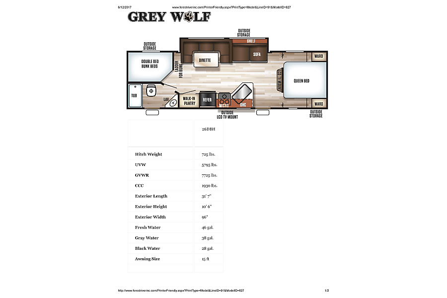 2016 Forest River Cherokee Grey Wolf Jacksonville, FL Floor Plan and Specs