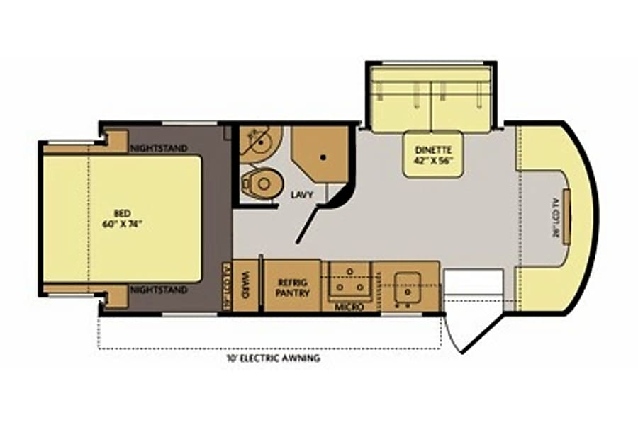 floorplan Mercedes Turbo 188 HP Diesel  Class C 25ft with 2-Slides and Private Bedroom, Rear Swaybar Sacramento, CA