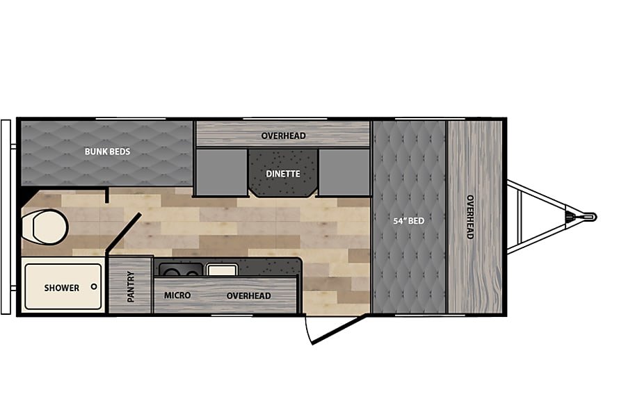 floorplan 2017 Winnebago Micro Minnie 1700BH Pleasanton, CA