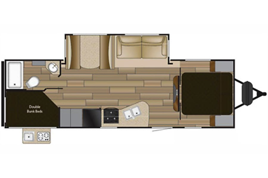 floorplan 2017 Shadow Cruiser Bunk House Travel Trailer- Everything you need to get Camping!   --No Brake Controller Required. Galt, CA