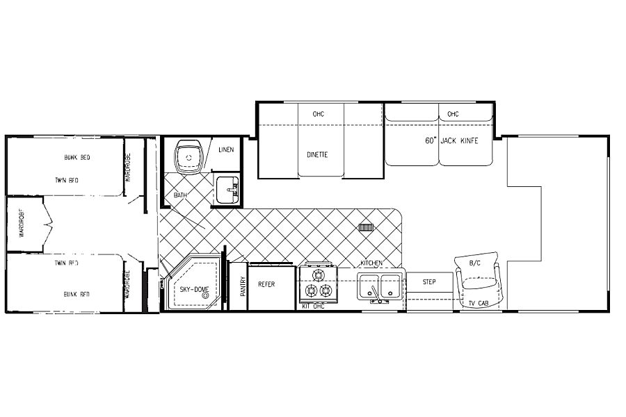 FREE airport delivery - 31ft sleeps 10 people Las Vegas, NV Floorplan of the unit, as you can see, lots of space for people to sleep comfortably