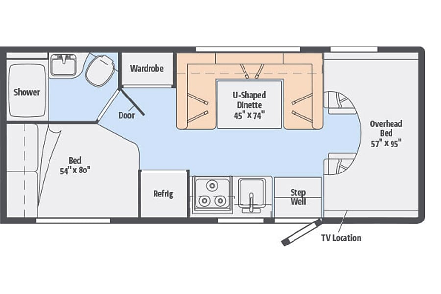 floorplan 2017 Winnebago 1 @ CA Coast Westminster, CA