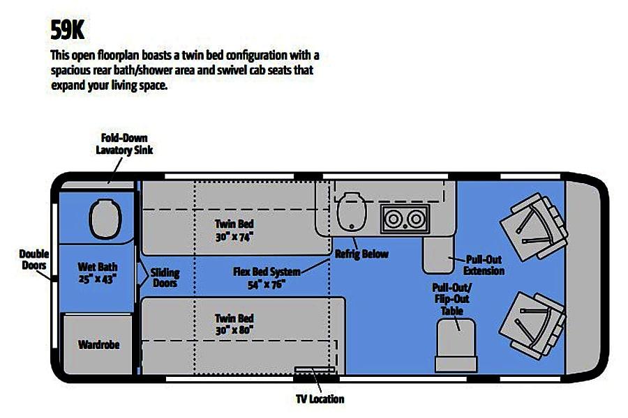 floorplan TINY HOUSE ON WHEELS - 2018 Winnebago Travato Littleton, CO