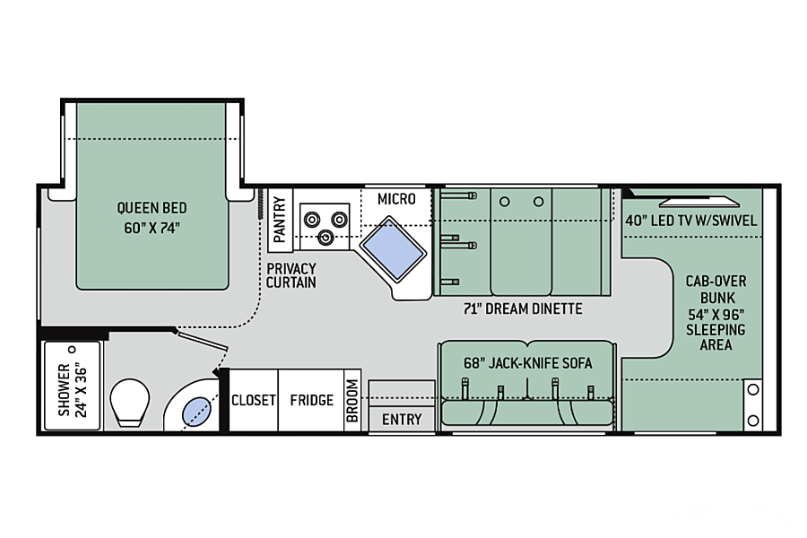 floorplan 2018 Thor Motor Coach Freedom Elite 26HE Thousand Oaks, CA