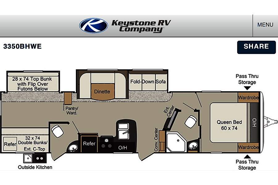 Beautiful 2017 Bunkhouse Style Trailer!! Mogadore, Ohio This is the floor plan.