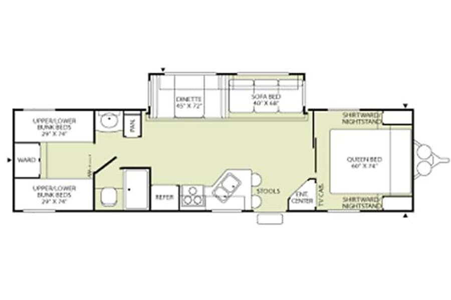 floorplan 2005 Terry 32-ft Double Bunkhouse, Sleeps 10 Austin, TX