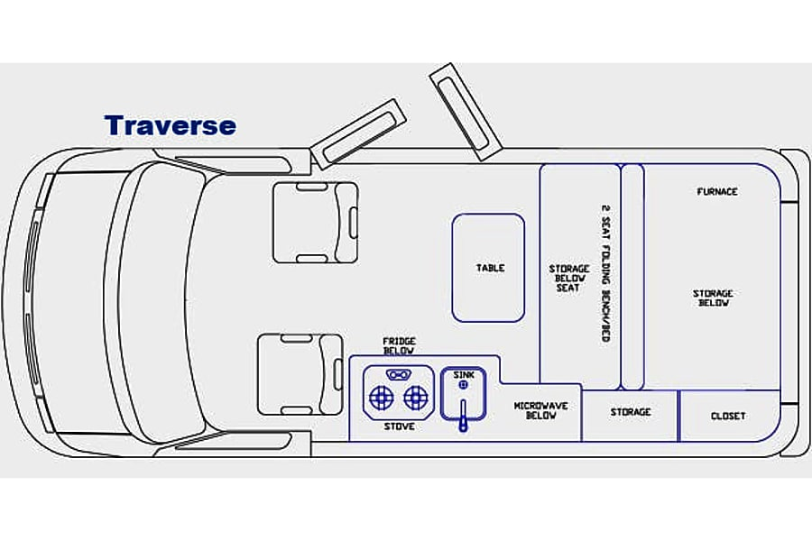 2011 Pleasure Way Traverse Santa Rosa, California Floorplan, table shown in drawing is removable and is stored away while in transport.
