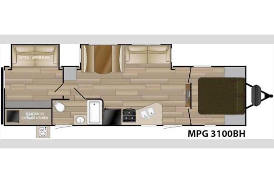 floorplan 2016 Cruiser RV MPG 3100BH Olympia, Washington