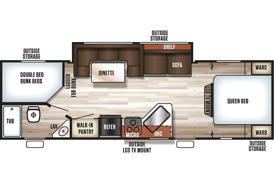 floorplan 2017 Cherokee Grey Wolf 26DBH Jacksonville, FL