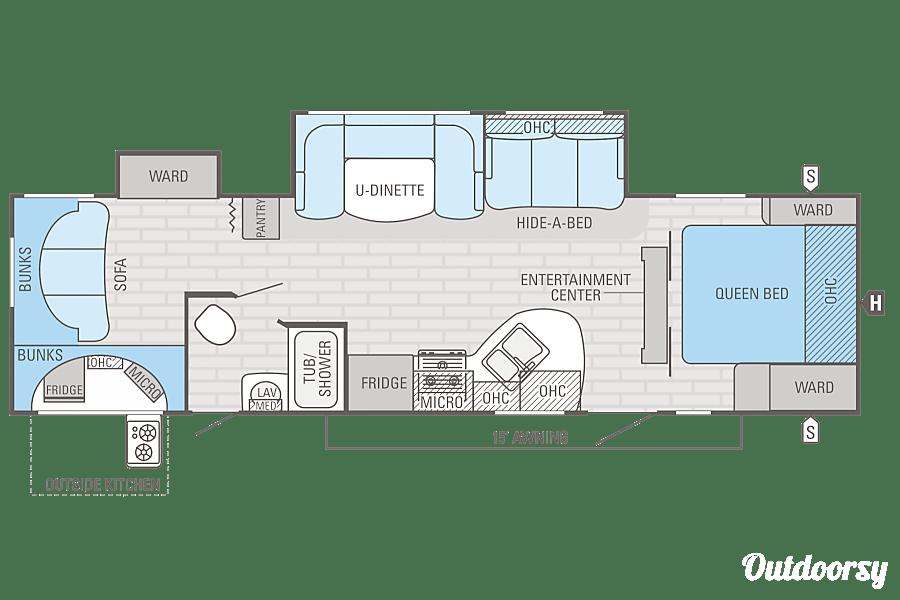 floorplan Jayco White Hawk Ultra Lite Bunkhouse Pismo Beach, CA
